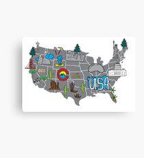 American roadtrip map Canvas Print