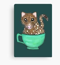 Quoll A Tea - Teal Canvas Print