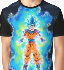 Son Goku transforming SSJ Blue Graphic T-Shirt