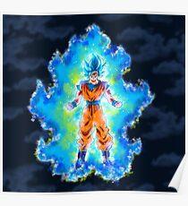 Son Goku transforming SSJ Blue Poster