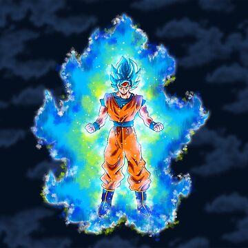 Son Goku transforming SSJ Blue by Aristote