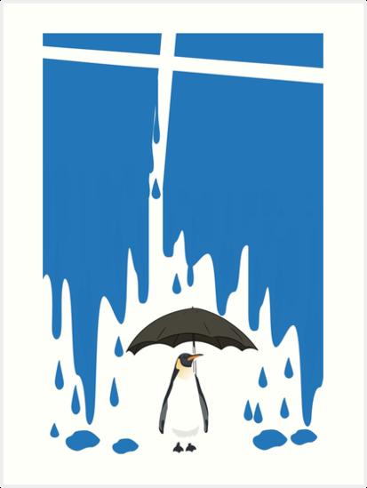 Linux Tux Umbrella Blue by umane
