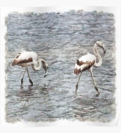 Be A Flamingo Watercolor Poster