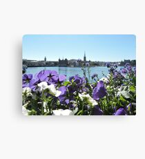 Stockholm Through The Flowers (Purple) Canvas Print