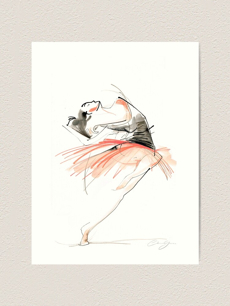 Alternate view of Expressive Dance Drawing Art Print