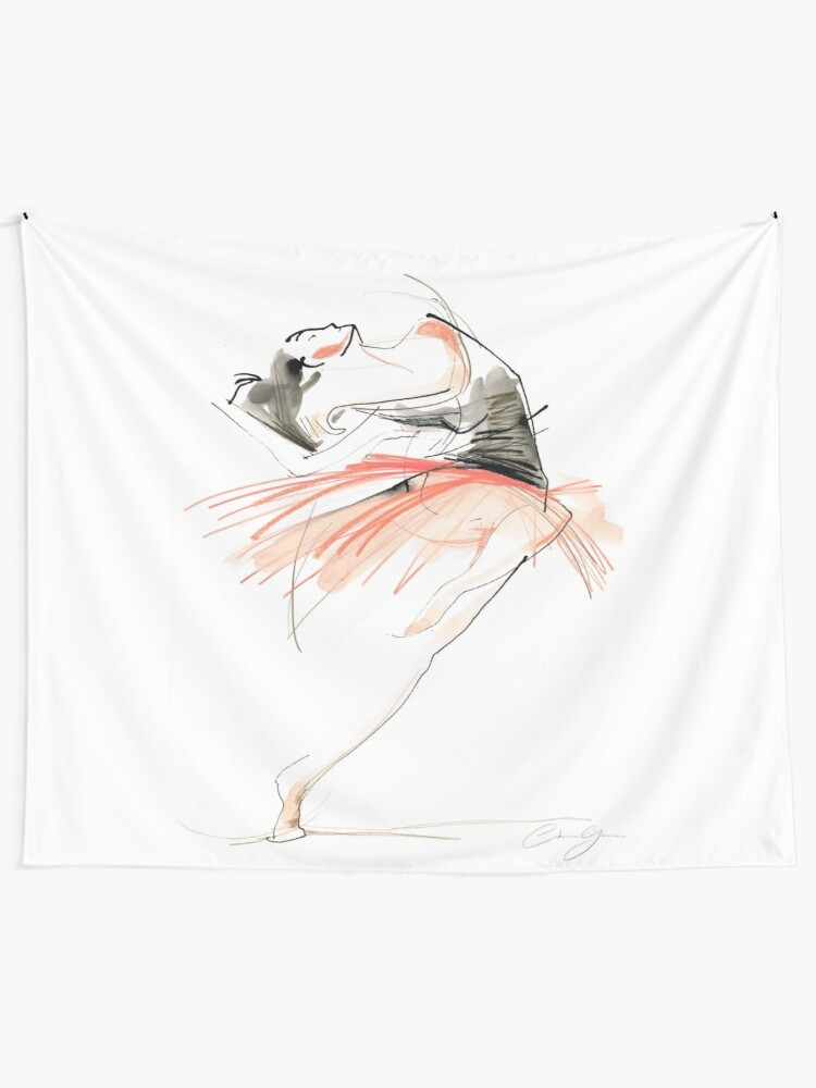 Alternate view of Expressive Dance Drawing Tapestry