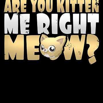 Adorable Are You Kitten Me Right Meow Cat Lover T-Shirt by merchbrigade