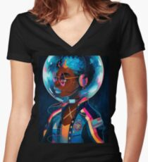 Space Letterman II Women's Fitted V-Neck T-Shirt