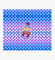 Cupcake Pile Holographic Checkered Pattern Photographic Print