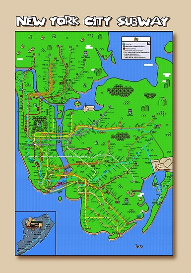 New York City Super Mario World Subway Map