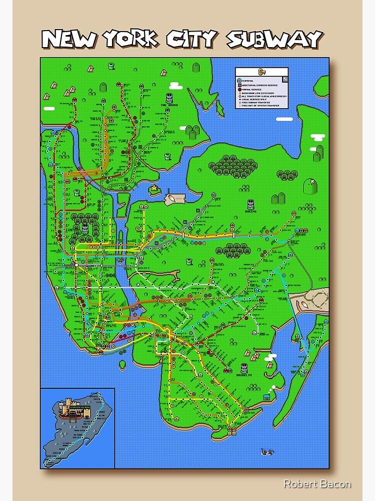 Subway Map Myc.New York City Super Mario World Subway Map Poster