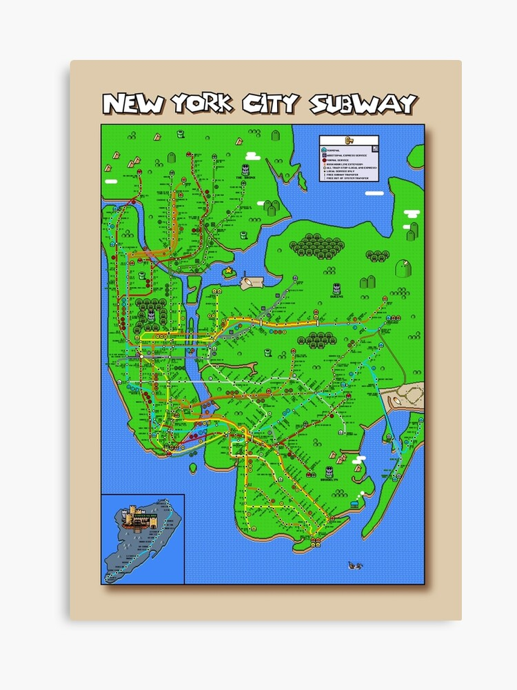 New York Subway Map To Print.New York City Super Mario World Subway Map Canvas Print