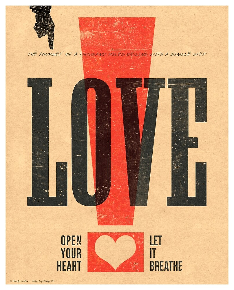 """LOVE!"" Vintage Letterpress Poster by BLTV"