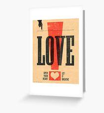 """""""LOVE!"""" Vintage Letterpress Poster Greeting Card"""