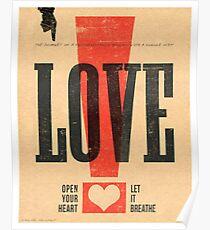 """""""LOVE!"""" Vintage Letterpress Poster Poster"""