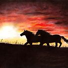 Horses at sunset by MadameCat-Art
