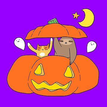 Tabby Cat Sloth and Pumpkin  by SaradaBoru