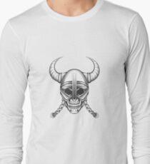 Skull in Viking Helmet Long Sleeve T-Shirt
