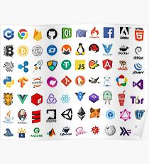 Developer icons, open source project logos, web companies Poster