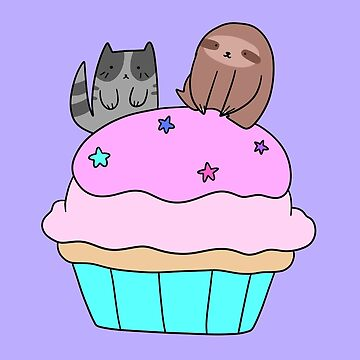 Cupcake Blue Tabby Cat and Sloth by SaradaBoru