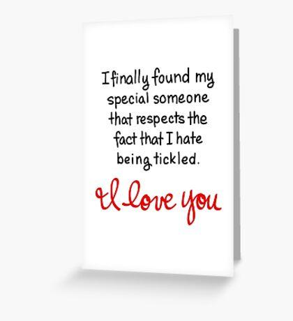 No Tickling Love Greeting Card
