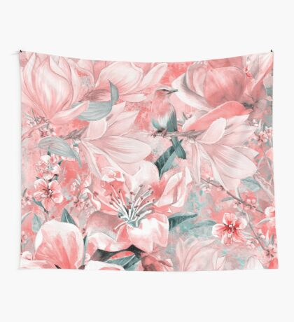 flowers and birds pattern #flowers #pattern Wall Tapestry
