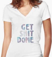 Get It / Shit Done Watercolor Lettering Typography Women's Fitted V-Neck T-Shirt
