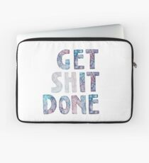 Get It / Shit Done Watercolor Lettering Typography Laptop Sleeve