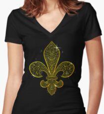 Fleur de Lis - Brown BG Women's Fitted V-Neck T-Shirt