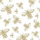 Gold & White Bee Print by behughesuk