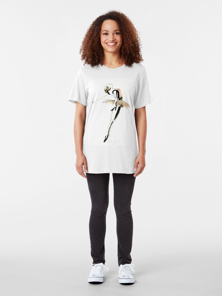 Alternate view of Ballet Dance Drawing Slim Fit T-Shirt