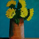 Sunflowers in a copper can by Russell Halsema