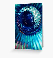 Staring Down the Bottle blue abstract Greeting Card