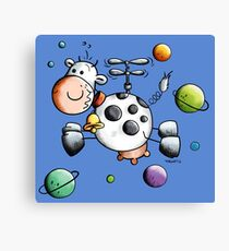 Funny Space Cow Canvas Print