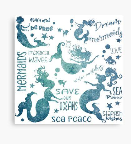 Dream Mermaids Pattern - weathered Metal Print