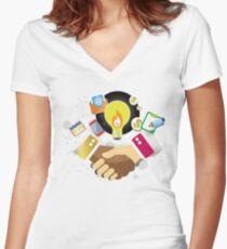 T-Shirt Partnership Breaks Prejudice Women's Fitted V-Neck T-Shirt