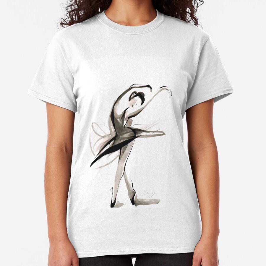 Expressive Watercolor Dance Drawing Classic T-Shirt
