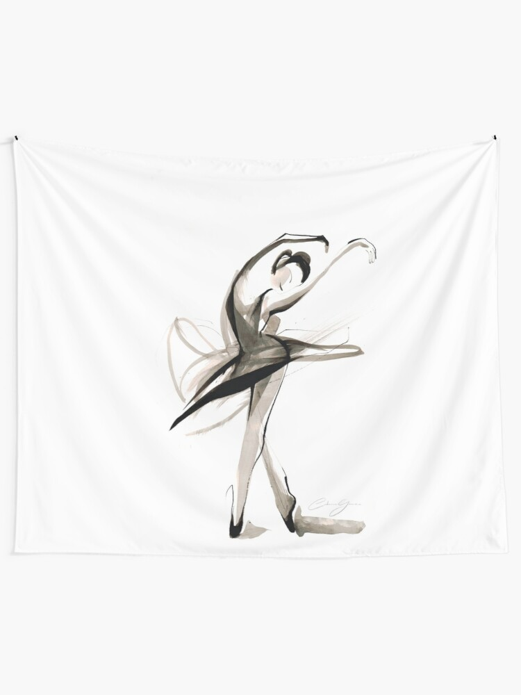 Alternate view of Expressive Watercolor Dance Drawing Tapestry