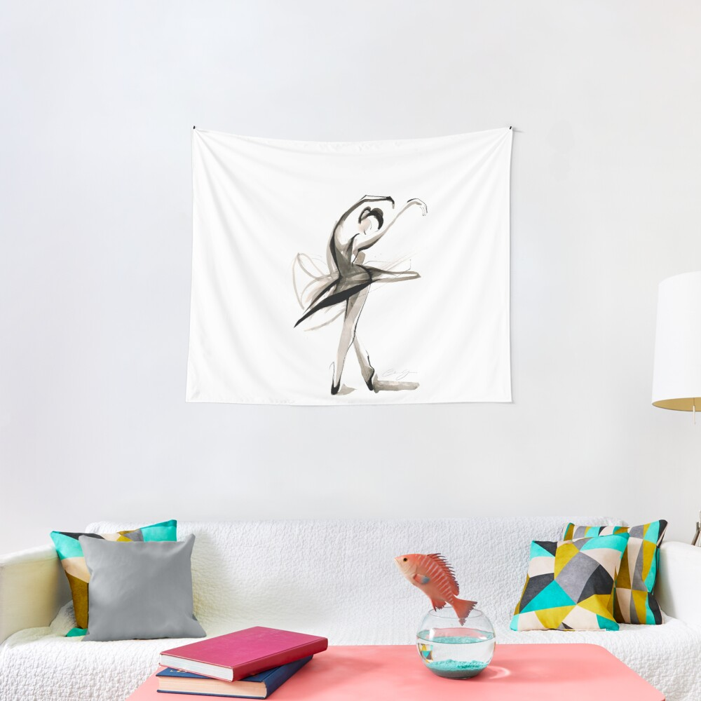 Expressive Watercolor Dance Drawing Tapestry