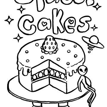 Space Cakes - Black Line by SaradaBoru