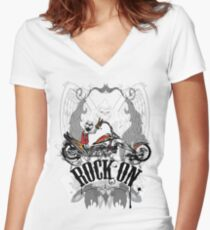 Skulls Rock On Rock Music T-Shirt Women's Fitted V-Neck T-Shirt