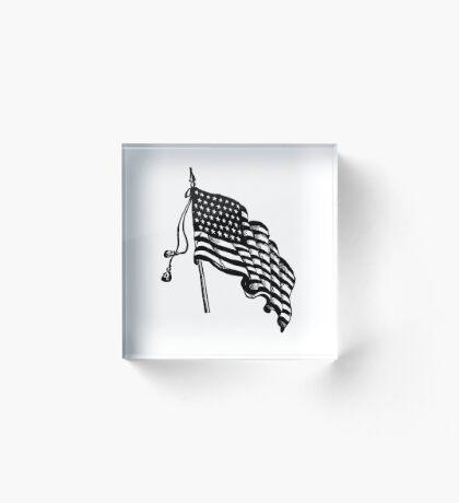Vintage and Retro American Flag Acrylic Block