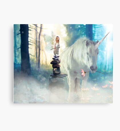 Grumpy Fairy with Unicorn Metal Print