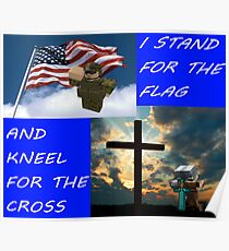 I Stand For The Flag and Kneel for the Cross - Roblox Minecraft USA Poster