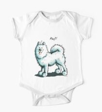 Happy Playing Samoyed Dog One Piece - Short Sleeve