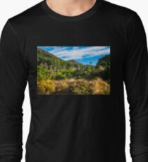 Forest and mountain range at Wilson Bay, NZ Long Sleeve T-Shirt