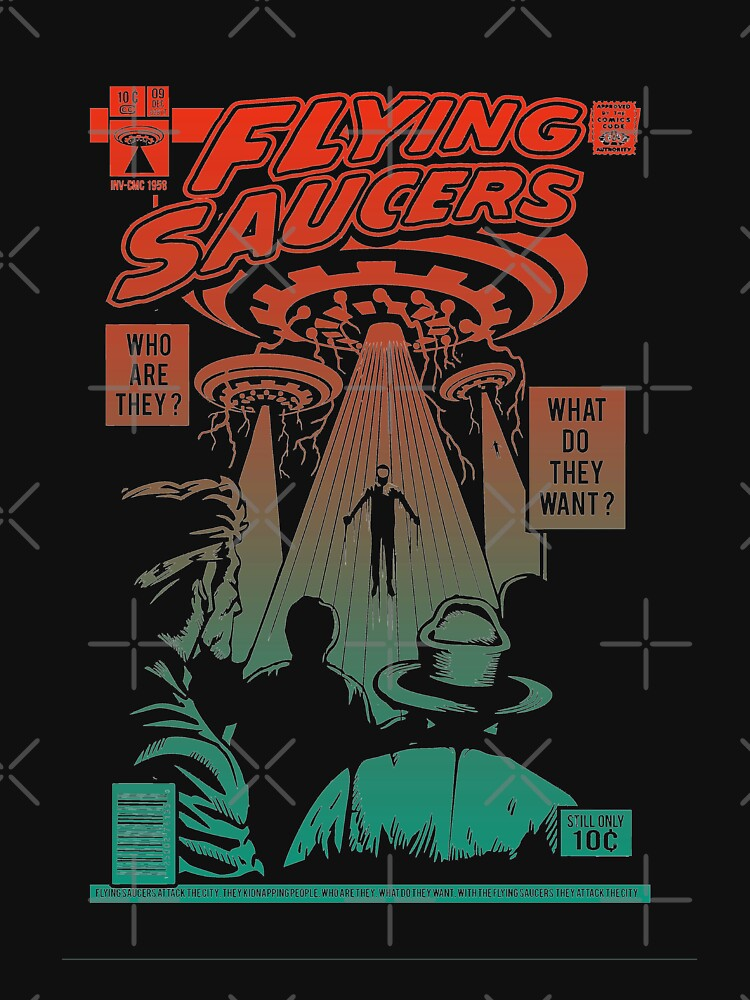 Flying Saucer UFO Aliens Area 51 Space Comic Book Vintage Retro by thespottydogg