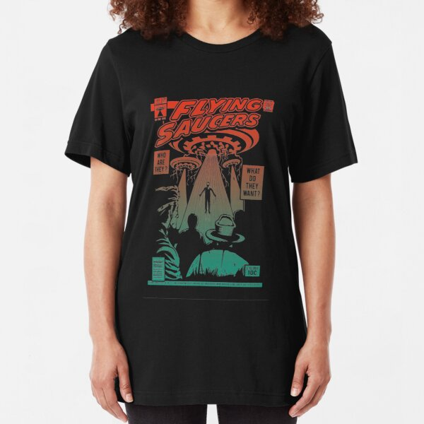 Flying Saucer UFO Aliens Area 51 Space Comic Book Vintage Retro Slim Fit T-Shirt