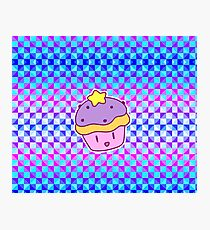 Star Cupcake - Holographic Checkered Pattern Photographic Print