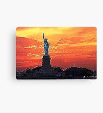 Statue of Liberty at Sunset Textured Art Canvas Print
